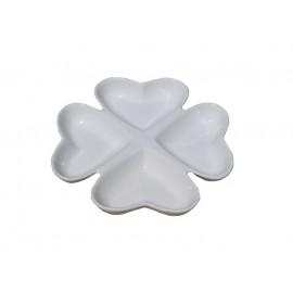Platou alb din ceramica cu 4 compartimente