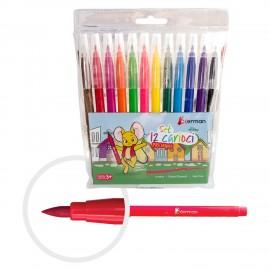 Carioci 12 Culori cu Varf Tip Pensula Okerman