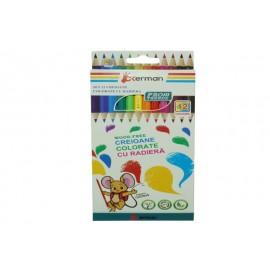 Creioane Colorate cu Radiera Okerman 12 Culori