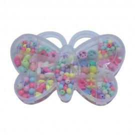 Margele din plastic multicolore mixte in cutie fluture
